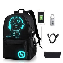 Luminous Student School Bag Anime Backpack for Boy Girl Daypack Multifunction USB Charging Port and Lock Kids