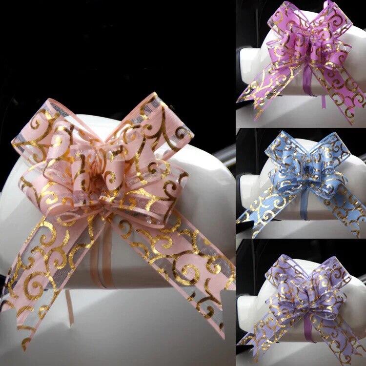 100pcs Mooie roze/rood/paars/blauw/zwart 50mm Pull strik voor boeket Gift verpakking Christmas Party Bruiloft Auto Decoratie