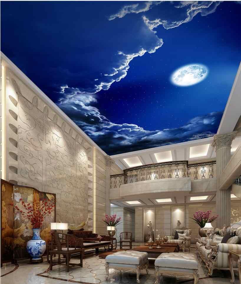 living room bedroom ceiling background wallpaper 3d mural ceilings romantic  night sky bright moon ceiling mural