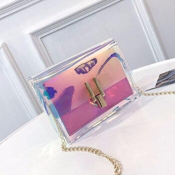 Fashion Women Handbags Laser Clear Transparent Tote Hologram Handbag Purse Shoulder Bag Coin Purses