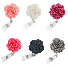 1pcs/5pcs/10pcs Free Shipping Delicate Nurse Rose Flower ID Badge Reel With Belt Clip