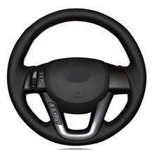 Чехол рулевого колеса автомобиля ручной работы Черная искусственная кожа для Kia K5 Optima 2008 2009 2010 2011 2012 2013