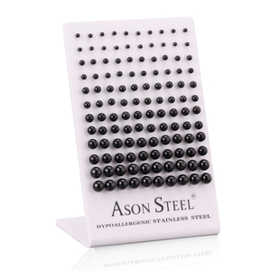 Image 2 - ASONSTEEL 60 คู่/ล็อตขายส่งผ่าตัดBallต่างหูทอง/สีดำ/Rose Gold/เงินขนาด 3 มม. 8 มม.ต่างหูหญิง