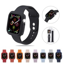Soft silicone case cover for Iwatch 4 5 + Silicone Rubber Sports  watch band strap apple 40MM 44MM