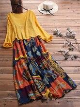 Cotton Linen Vintage Print Elegant Long Party Dresses Vestidos New Fashion Dress Women Loose Casual Robe Femme Plus Size 5XL