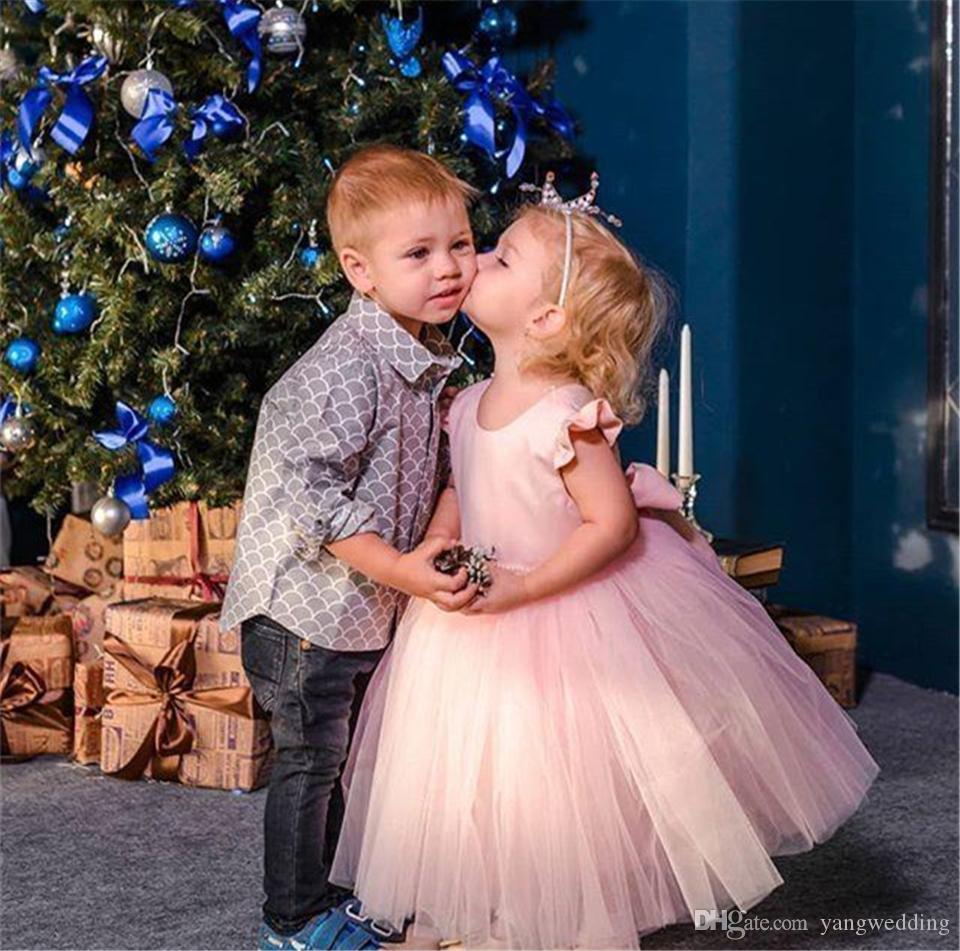 Розовое Тюлевое платье до щиколотки с цветочным принтом для девочек, свадебные платья с жемчугом для первого причастия, с открытой спиной, с...