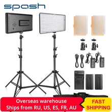 spash TL-240S LED Video Light 2 in 1 Kit Photography Lighting led Panel Lamp Camera Light with Tripod for Youtube Photo Studio samtian video light tl 600s 2sets led video photo studio light kit dimmable 600pcs led panel lamp with tripod for photographic