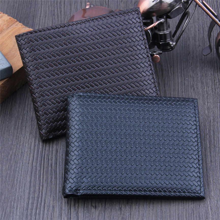 Dompet Pria Bifold Bisnis Kulit Zipper Identitas Pemegang Kartu Kredit Dompet Kantong Dompet Fashion Kulit Minimalis Paket Kartu A3