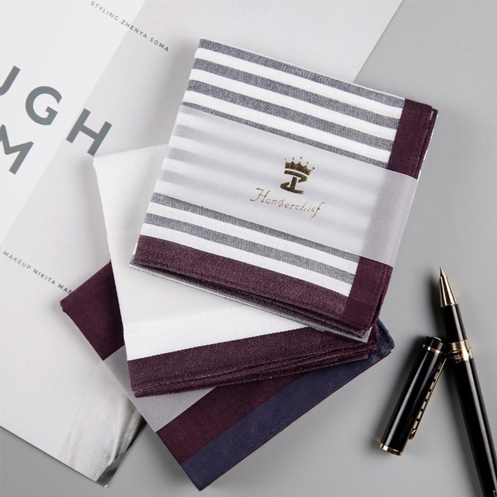 Men Square Stripe Cotton Sweat Handkerchiefs Men's Classic Pattern Vintage Pocket Hanky Hand Towel Gifts 1Pcs