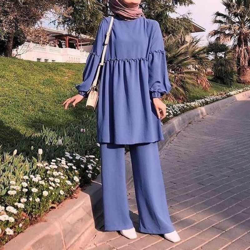 Muslim Ladies 2 Piece Suit Outfits Set Lantern Sleeve Frill Pullover Tops Loose Pants Solid Color Arabic Turkey Islamic Casual K