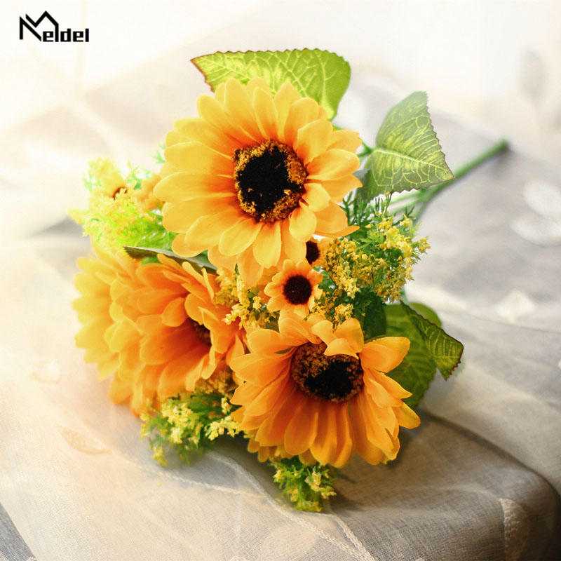 Plastic Long Stem Artificial Flowers Sunflowers Branch 7 Heads Silk Fake Flowers For DIY Home Garden Party Wedding Decor Flores