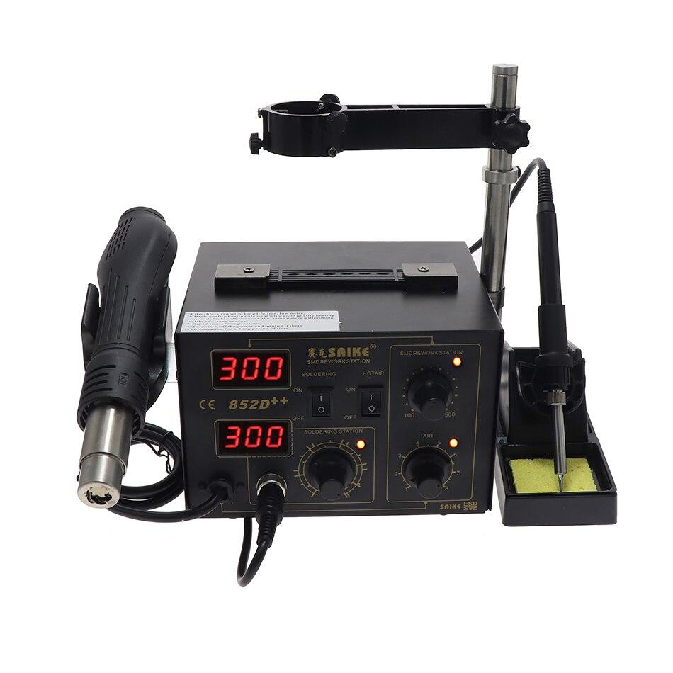 SAIKE 852D++  852D  2 In 1 SMD Rework Station Hot Air Gun Soldering Station SOIC, CHIP, PLCC, BGA Desoldering Station