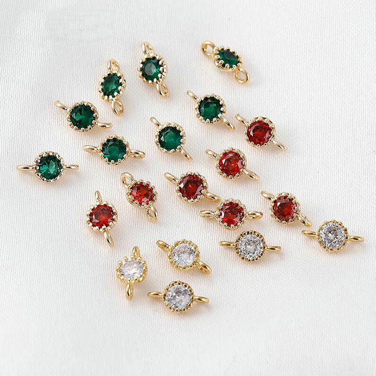4*8MM 14K Gold Plated Brass with Zircon 2 holes Charms Connector Round Charms Pendants Jewelry Making Supplies Diy Findings