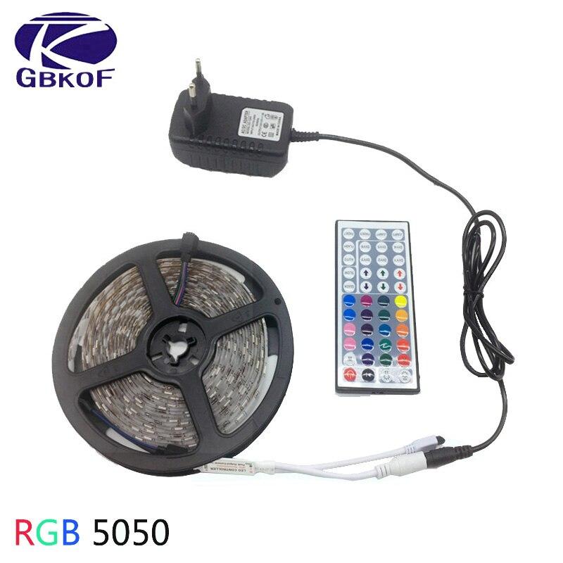 Luz de tira conduzida rgb 5050 smd 2835 fita flexível fita fita tira conduzida rgb 5 m 10 m 15 m fita diodo dc 12 v + controle remoto + adaptador