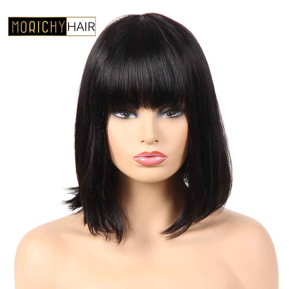 Morichy Human Hair Wigs With Bangs For Women Brazilian Hair Wigs Natural Black Color Non Remy Human Bob Wigs Can Be Dyed