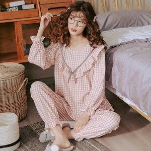 Image 2 - Women Long Sleeve Sweet Plaid Print Sleepwear Suit Spring Autumn Pajamas Set Young Girl Nightgown Casual Homewear Pijamas Mujer