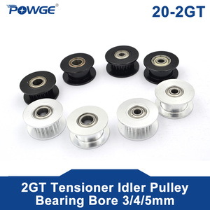 POWGE 2M 2GT 20 Teeth synchronous Wheel Idler Pulley Bore 3/4/5mm with Bearing Black for GT2 Timing belt Width 6MM 20teeth 20T(China)