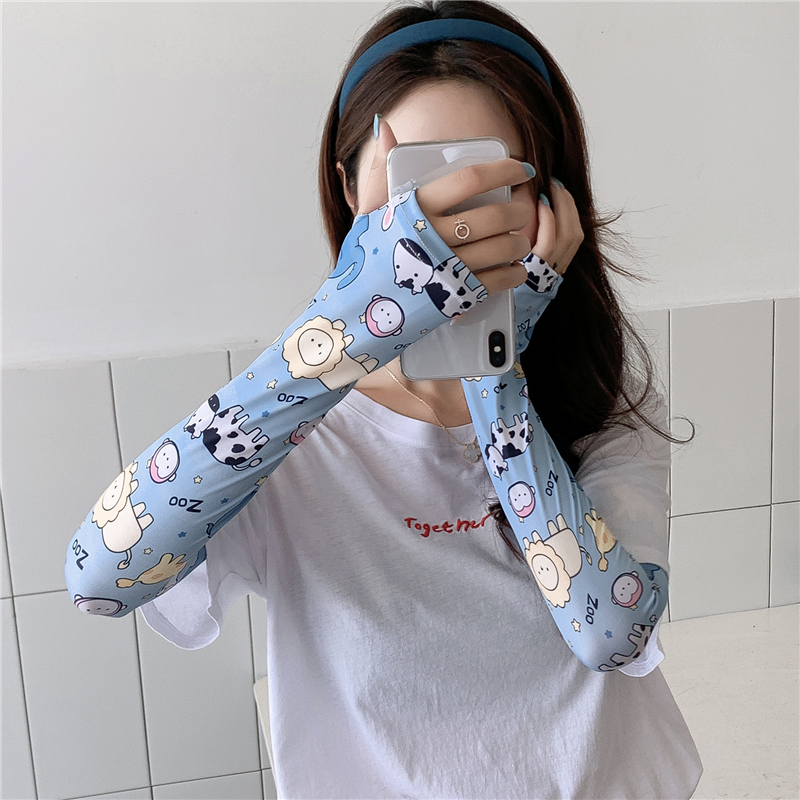 Cartoon Print Women Sleeves Arm Wraps Dog Cat Floral Summer Sunscreen Sleeve Lady Outdoor Sport Cool Sport Riding Drive Gloves