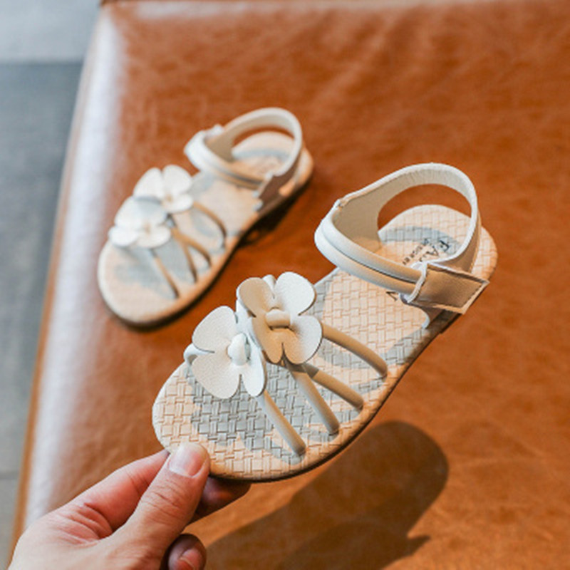Girls Fashion Beach Sandals With Flower Shoes 2020 Summer Kids Baby Princess Shoes Children Cross Open Toe Sandals