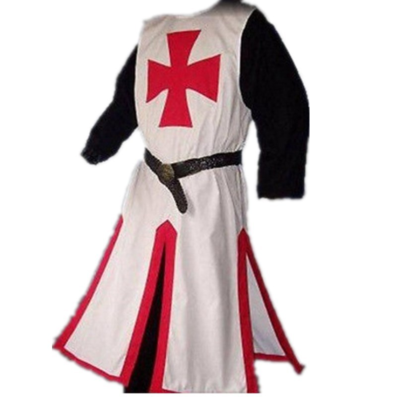 Halloween Medieval Warriors Knight Templar Crusader Vest Cosplay Costume Men Gown Long Shirt Top Cross Tabard Stage Show Clothes