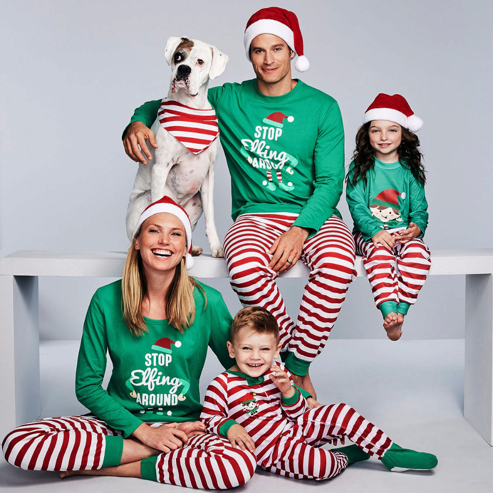 Family Pajamas Set Xmas Party Clothes Adult Kids Pajamas Set Cotton Baby Romper Sleepwear Christmas Family Matching Clothes