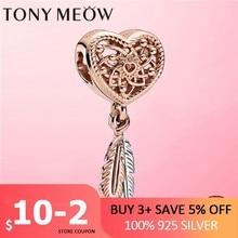 Atrapasueños de Plata de Ley 925, adorno calado de plata, corazón y dos plumas, amuleto de atrapasueños, apto para pulsera, joyería de plata 925