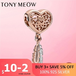 Dreamcatcher 925 Sterling Silver Openwork Heart & Two Feathers Dreamcatcher Charm fit Charms Pan Bracelet Silver 925 Jewelry