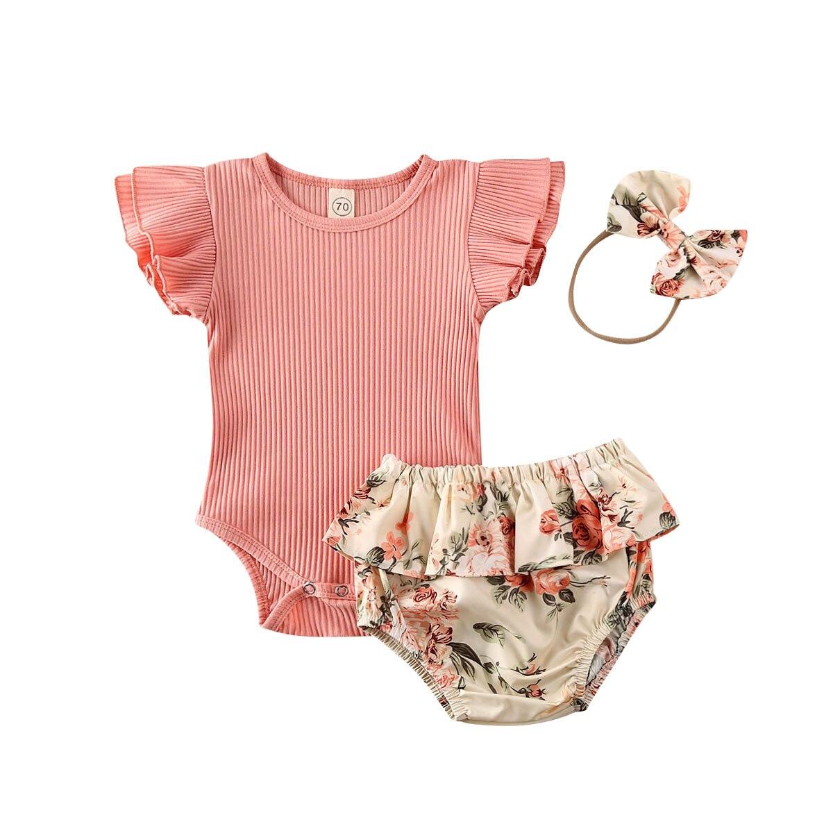 3Pcs Infant Kids Baby Girls Clothes Sets Pink Ruffles Sleeve Romper Tops+Flowers Shorts+Headband 0-18M