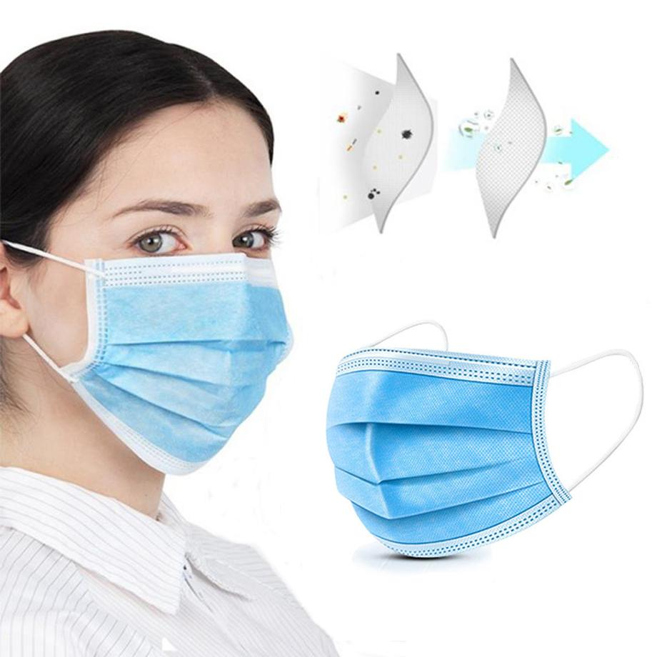 50 Pcs 3 Layer Disposable Protective Face Mouth Masks Anti NCoV PM2.5 Influenza Bacterial Facial Dust-Proof Safety Masks