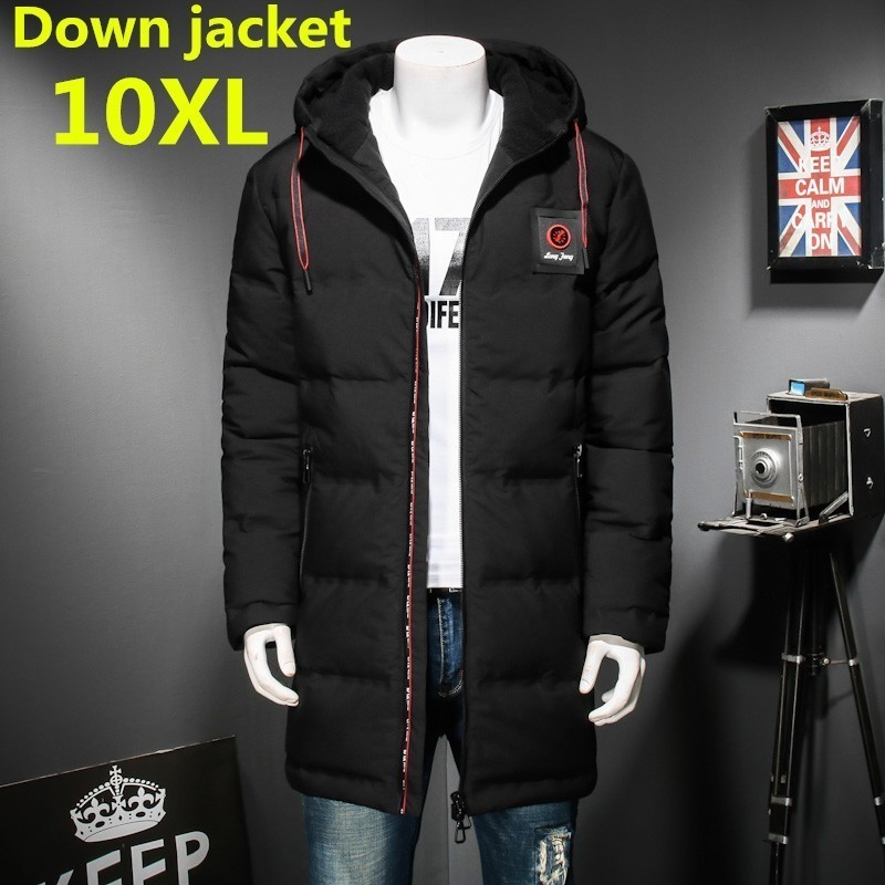 New Plus Size 10XL8XL Windproof Thick Winter Men's Down Jacket Brand Clothing Hooded Black Long Warm White Duck Down Jacket Male