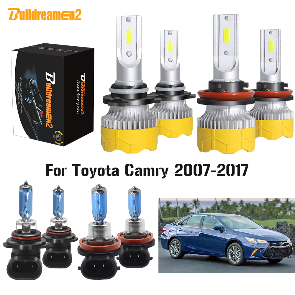 Buildreamen2 4 Pieces Car <font><b>Headlight</b></font> High Low Beam LED Halogen Headlamp Light H11 9005 12V For Toyota <font><b>Camry</b></font> 2007-2017 image