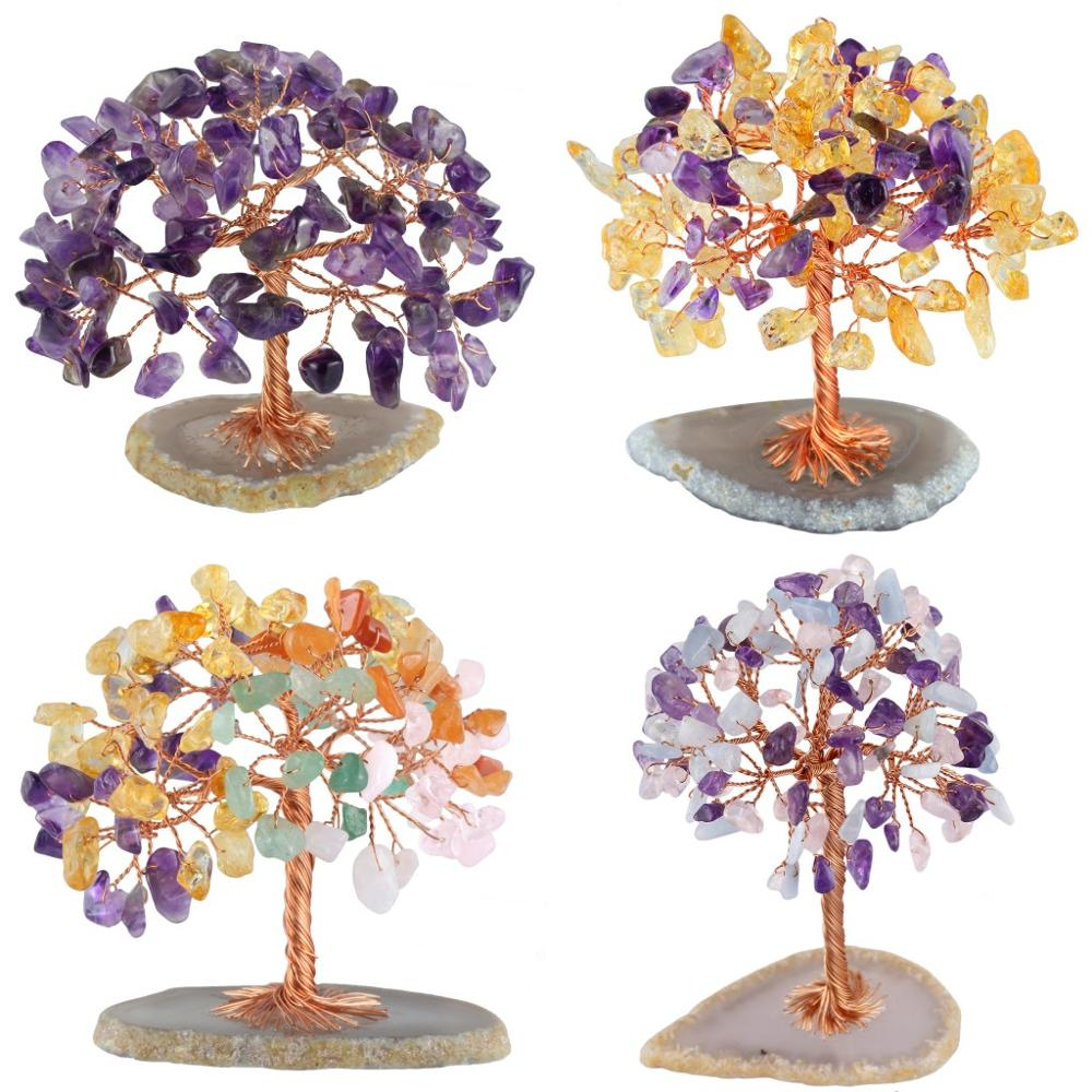 TUMBEELLUWA Healing Crystal Money Tree With Agate Slices Base Bonsai Home Office Decoration For Wealth And Luck