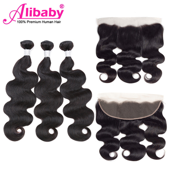 Alibaby Bundles With Frontal Body Wave NaturalColor Non Remy Bodywave Hair Lace Frontal Closure With Bundles Human Hair Peruvian alibaby 3 bundles with frontal remy kinky curly bundles with closure natural color human hair bundles with frontal closure 13x4