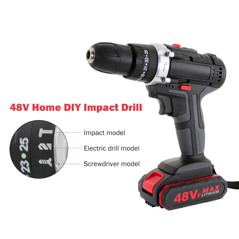 Electric Lithium Driver Wireless Cordless Battery Wireless Drill Drill 48VF Power Drill Wrench Screwdriver Impact Set Electric