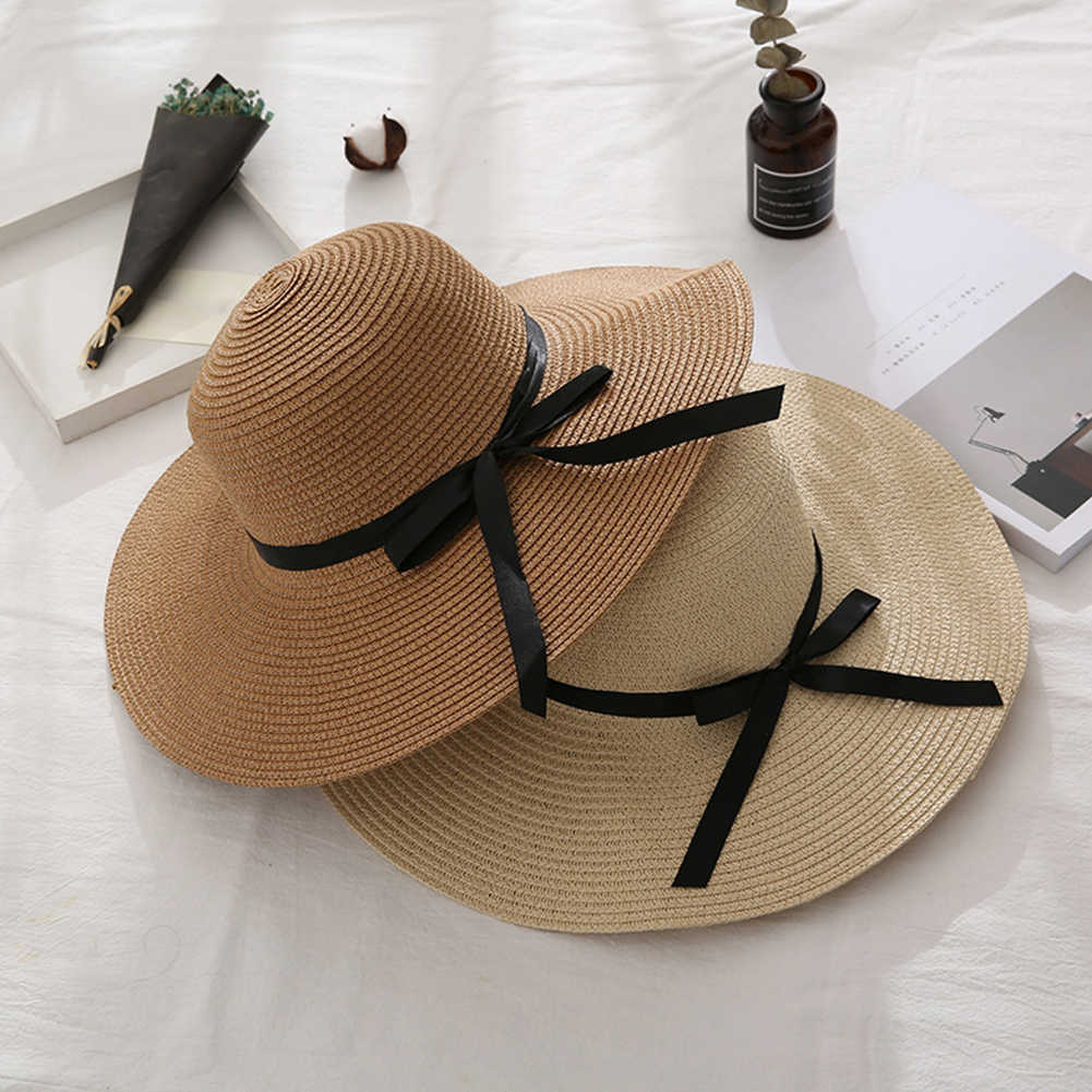 المرأة الصيف السفر الشاطئ الأشعة فوق البنفسجية حماية Bowknot قبعة من القش بحافة عريضة قبعة واقية من الشمس حماية Bowknot قبعة من القش بحافة عريضة قبعة واقية من الشمس