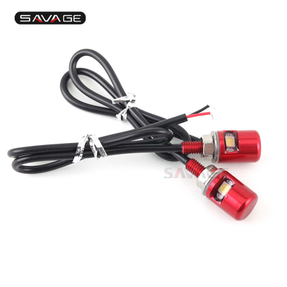 Lâmpada led para parafuso 12v, luz branca cromada/preta/azul, 1 par motocicleta vermelha/dourada impermeável cnc