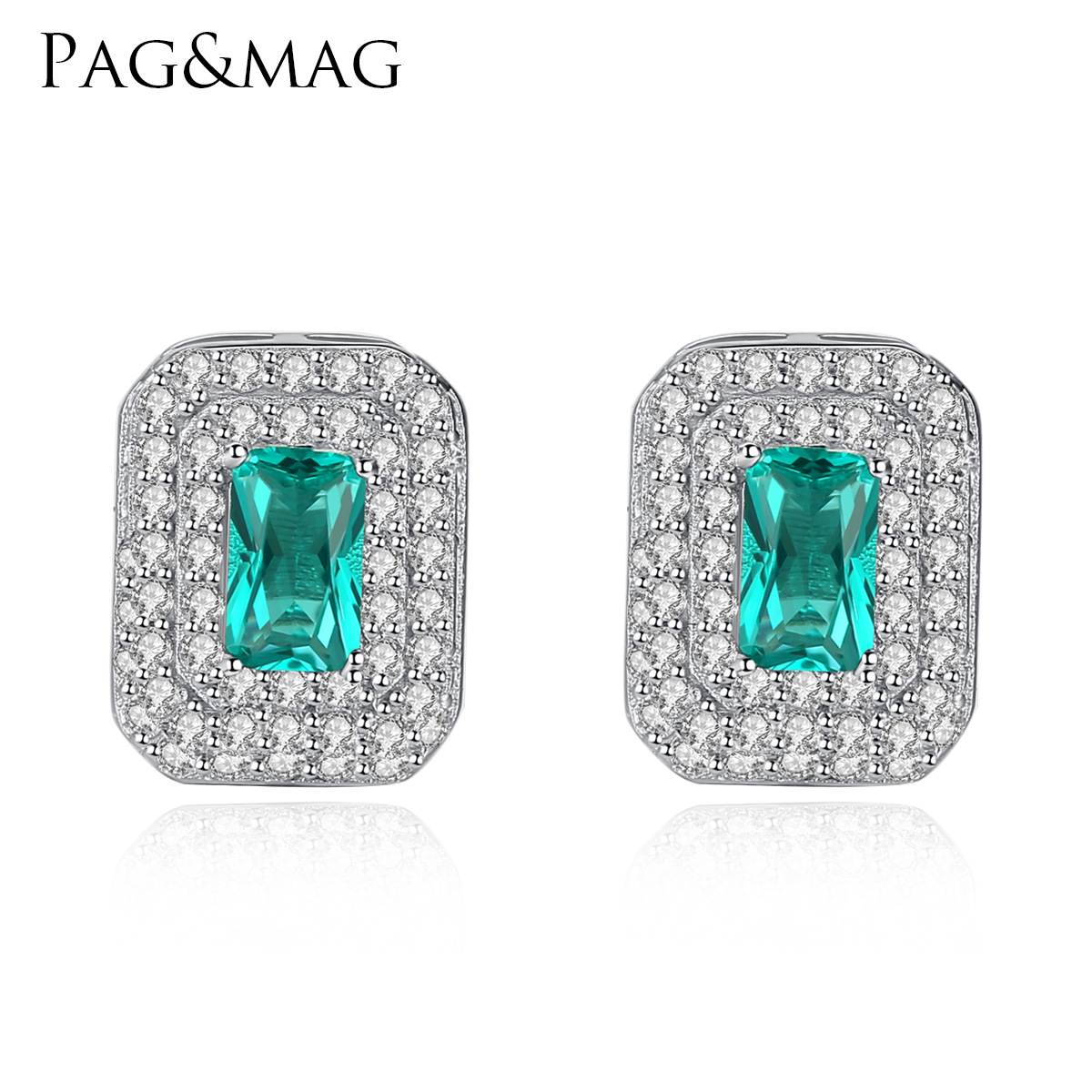 PAG & MAG simple design of green crystal inlay stone, European and American fashion women's ear nail S925 pure silver ear trim(China)