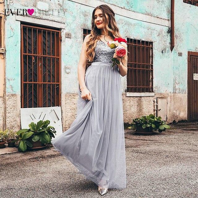 ארוך השושבינות שמלות אי פעם די EP07392 אלגנטי קו V צוואר טול מסיבת חתונת שמלות פאייטים Vestidos דה Damas De כבוד