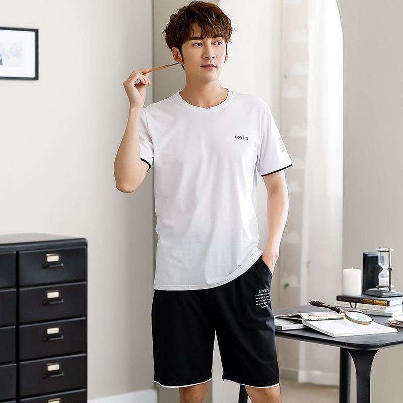Men's Sleepwear Summer SHORT Sleeve T-shirt And Shorts For Home Wear Soft Cotton Sport 2 Pcs Pajama Set Suit