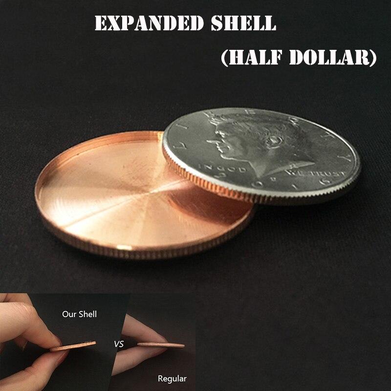 1pc Shell Expandiu (cabeça, Meio Dólar) truques de Mágica Moeda Aparecer/Desaparecer Acessório Mágico Close Up Ilusões de Magia Magia Adereços Gimmick