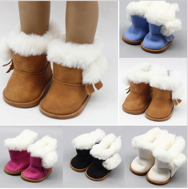 1 Pair doll winter brown boots shoes for 43cm doll and 18 inch dolls gift PC