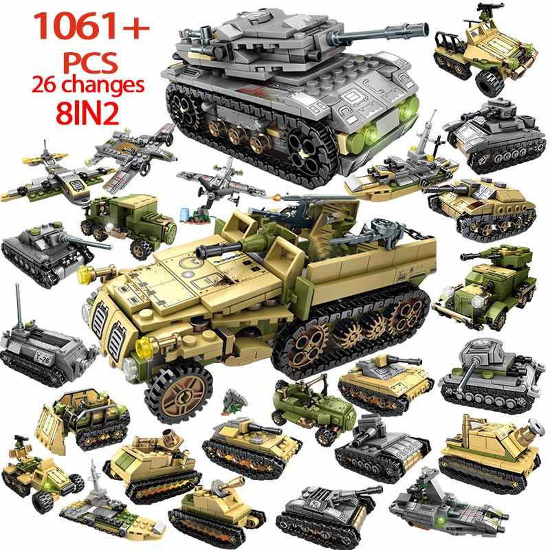 1061PCS WW2 Empires of Steel Technic Blocks Army Truck Building Blocks Legoingly Military Tank Vehicle Car Toys For Children Boy
