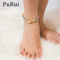 PuRui Shell Charm Ankle Bracelet Anklets for Women Multi Color Rope Adjustable Bracelet on the Leg Boho Foot Chain Jewelry Gift