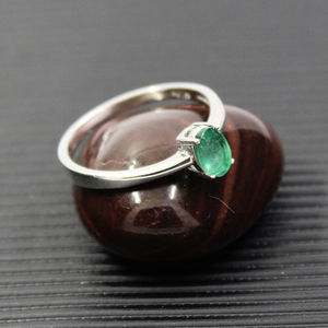 Image 5 - Promotion natural emerald wedding ring for woman 0.4 ct 4mm*6mm natural I grade emerald solid 925 silver emerald gemstone ring