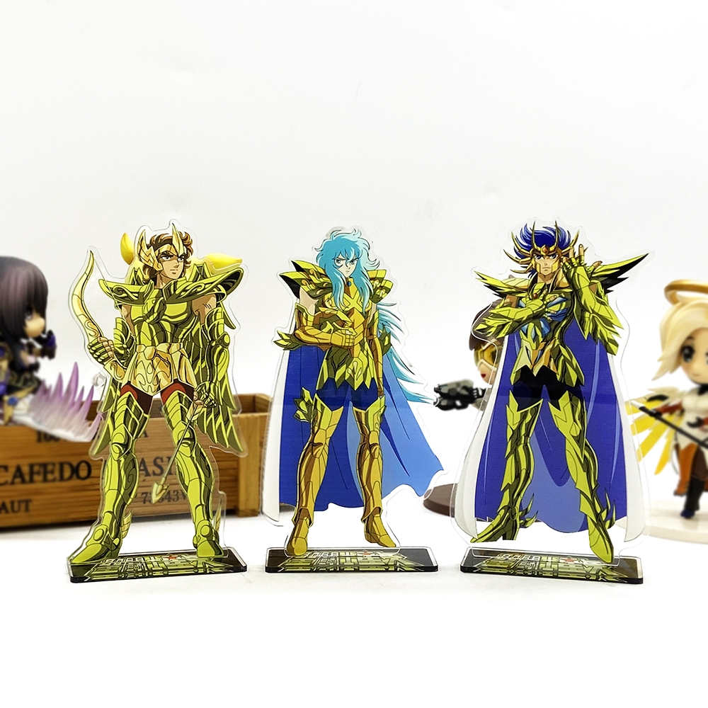 Saint Seiya Zodiac Aiolos Aphrodite Death Mask Acrylic Stand Figure Model Plate Holder Cake Topper Anime Japanese