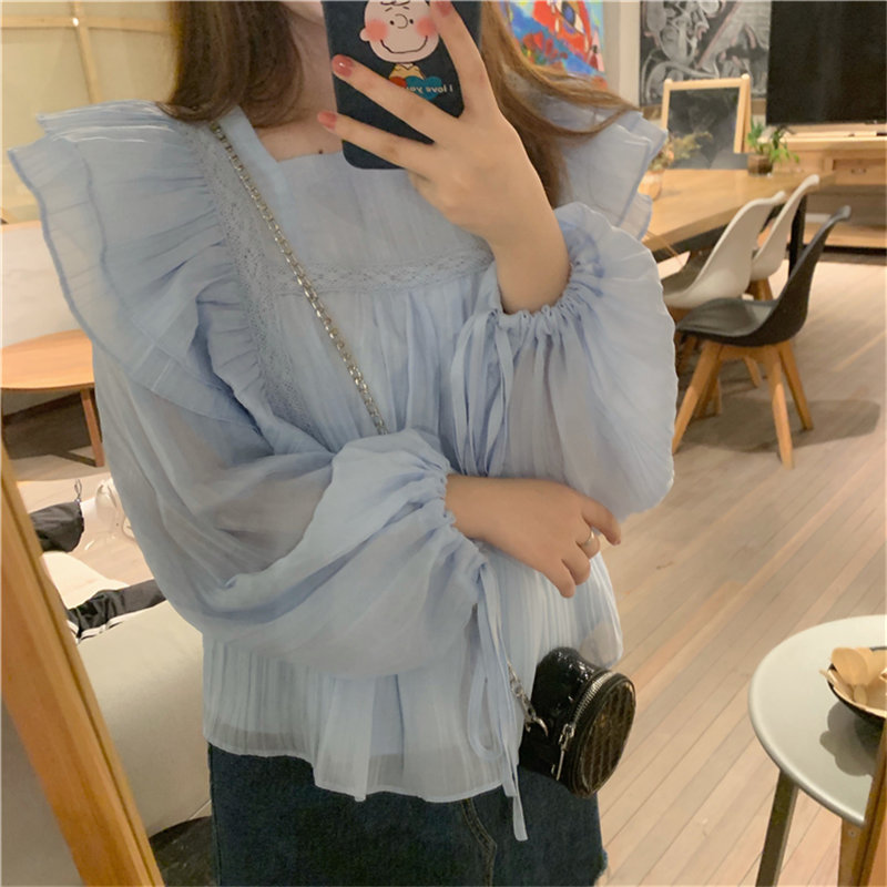 Alien Kitty Sweet Ruffles Blue Solid All Match Fresh Regular 2019 Cute Loose High Street Casual Women Simple High Quality Shirts