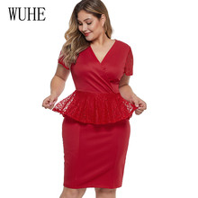 WUHE 4XL 5XL Big Size Summer Dresses Fashion Short Sleeve Lace Patchwok Casual Plus Women Clothing Elegant Formal Dress