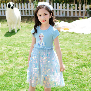 Girls Princess Summer Sequins Dresses Elsa Anna Toddler Cospaly Dress Kids Tutu Birthday Party Clothes for Children Ball Gown(China)