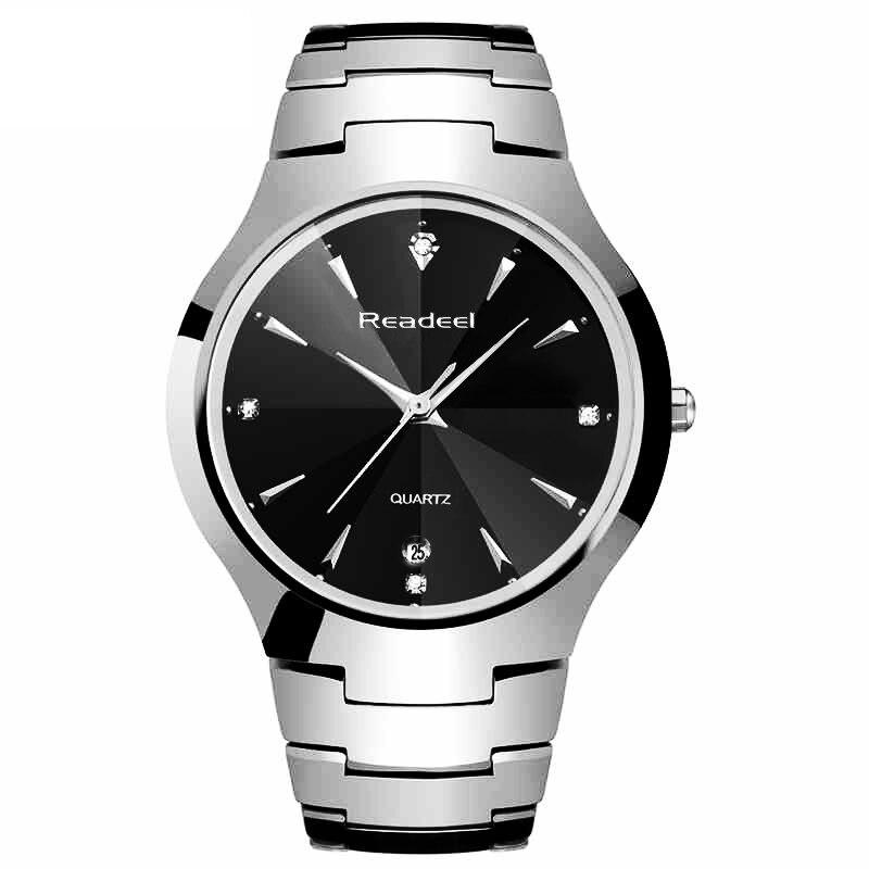 Readeel Mens Business Watches Top Brand Luxury Tungsten Men Full Steel Watch FashionWatch Quartz Waterproof relogio masculino