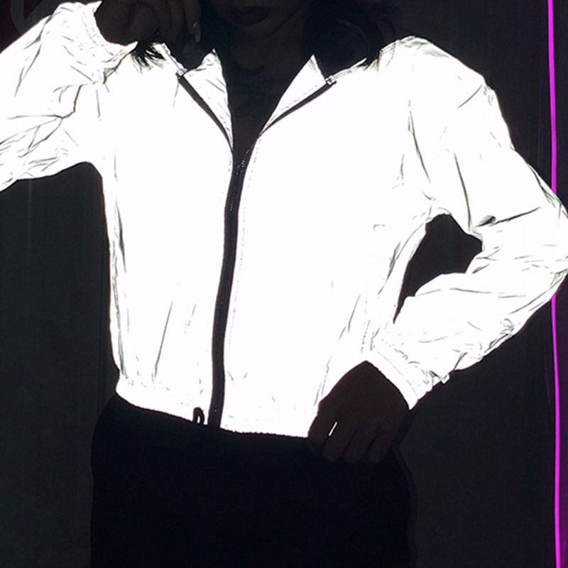 Reflective Jacket Hip Hop Streetwear Fashion Casual Stand Collar Coat Zippers 2020 Spring Women Night Shiny Jackets Coats